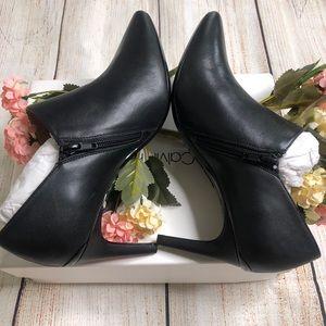 Calvin Klein Womens Joanie Black Leather Booties